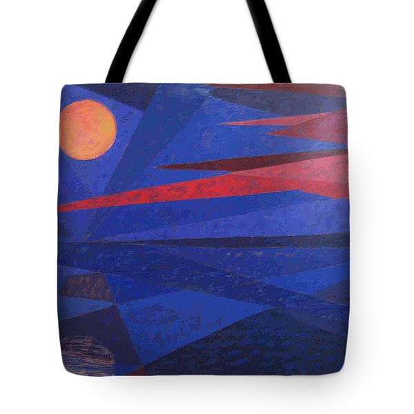 Tote Bag featuring the painting Moon Reflecting On A Lake by Walter Casaravilla