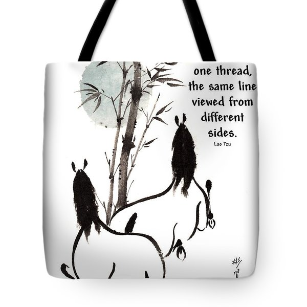 Tote Bag featuring the painting Moon Reverence With Lao Tzu Quote I by Bill Searle