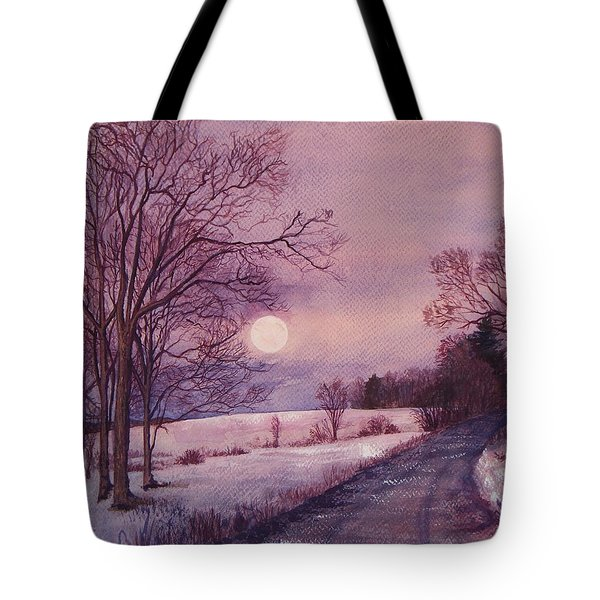 Tote Bag featuring the painting Moon Rising by Joy Nichols