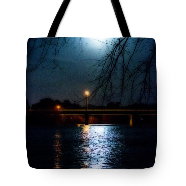 Moon Set Lake Pleasurehouse Tote Bag