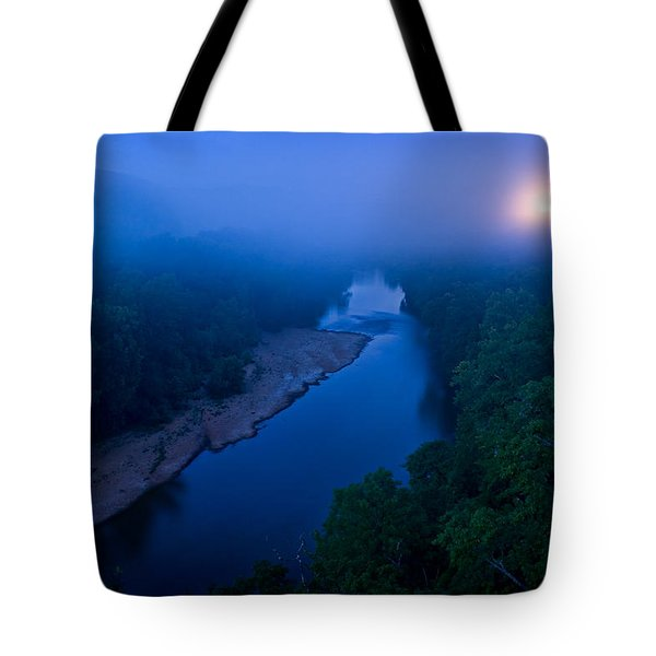 Moon Setting Over The Current River Tote Bag