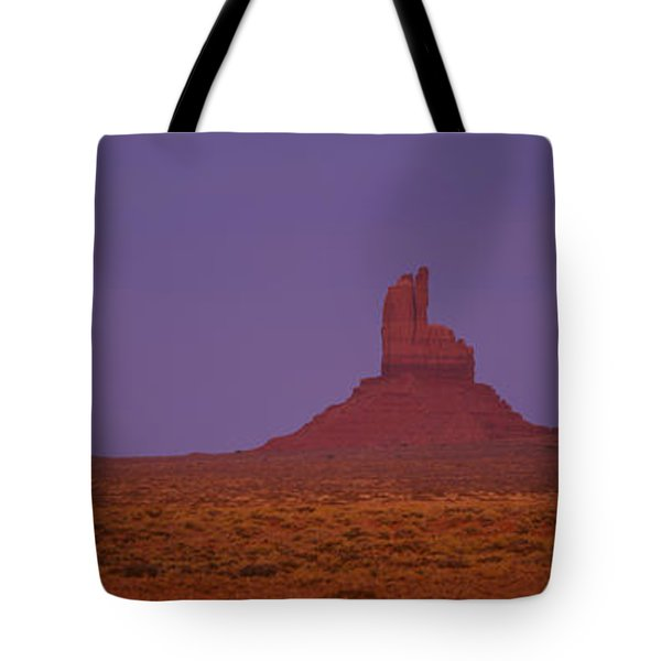 Moon Shining Over Rock Formations Tote Bag