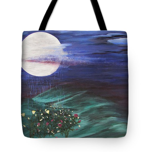 Tote Bag featuring the painting Moon Showers by Cheryl Bailey