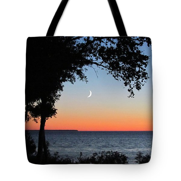 Moon Sliver At Sunset Tote Bag