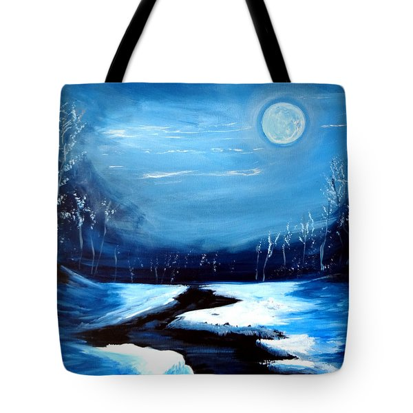 Moon Snow Trees River Winter Tote Bag