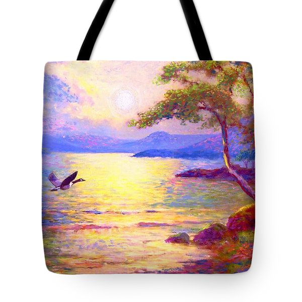 Tote Bag featuring the painting  Wild Goose, Moon Song by Jane Small
