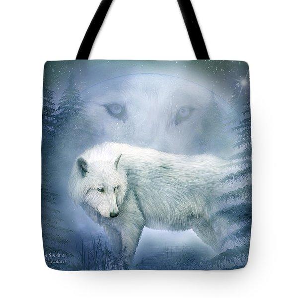 Moon Spirit 2 - White Wolf - Blue Tote Bag