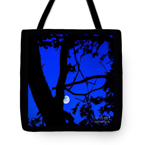 Tote Bag featuring the photograph Moon Through Trees 2 by Janette Boyd