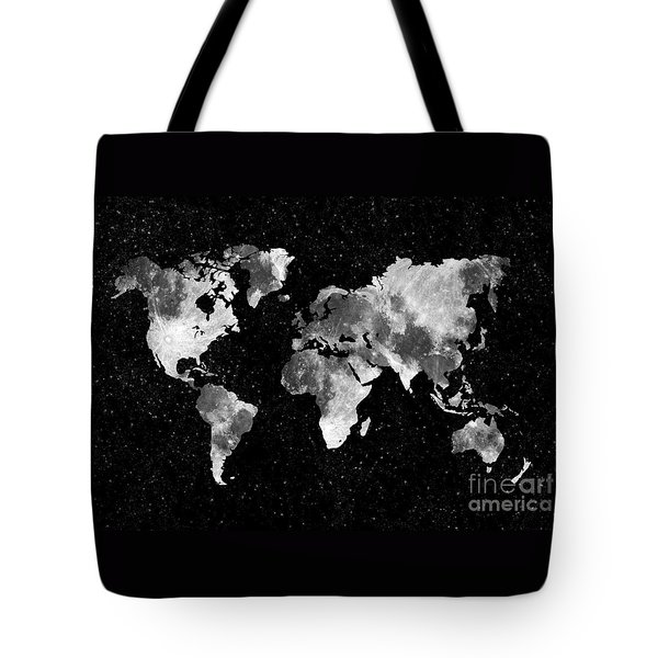 Moon World Map Tote Bag by Delphimages Photo Creations
