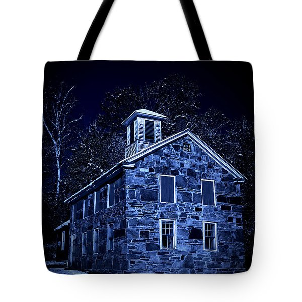 Moonlight On The Old Stone Building  Tote Bag by Edward Fielding