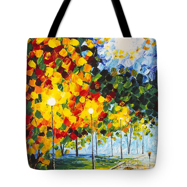 Tote Bag featuring the painting Moonlight Raindrops Original Acrylic Palette Knife Painting by Georgeta Blanaru