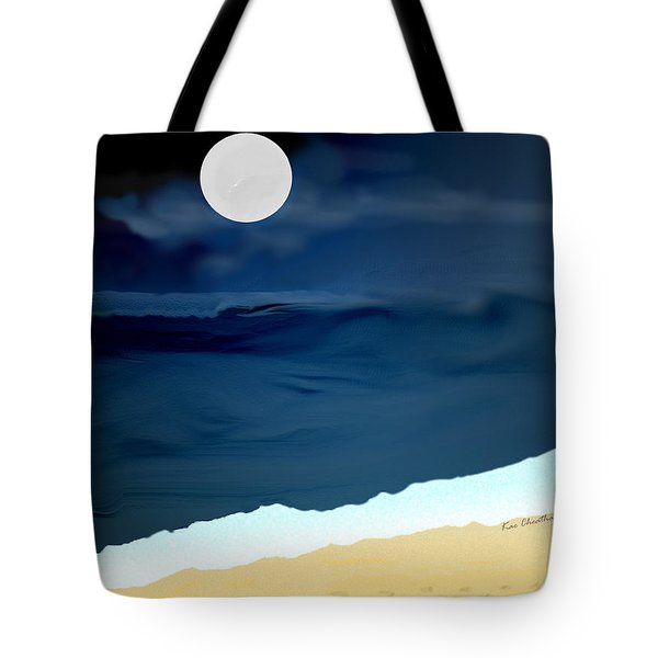 Moonlight Walk At Low Tide Tote Bag by Kae Cheatham