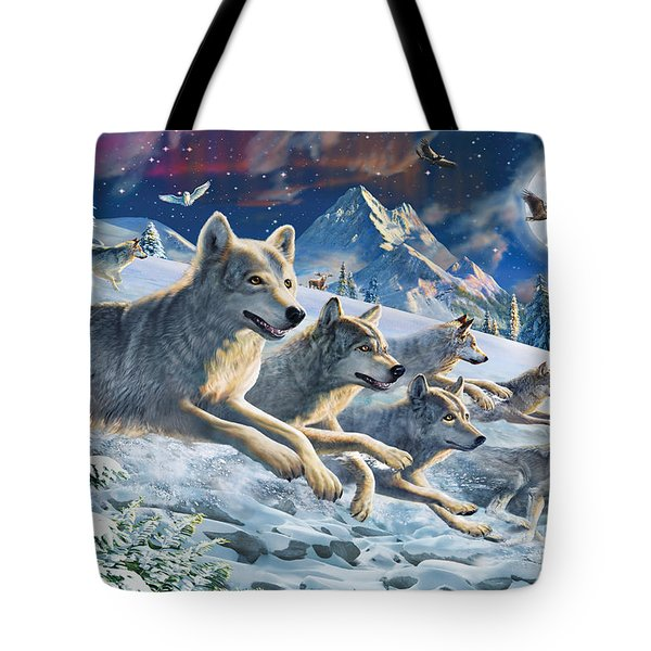 Moonlight Wolfpack Tote Bag by Adrian Chesterman