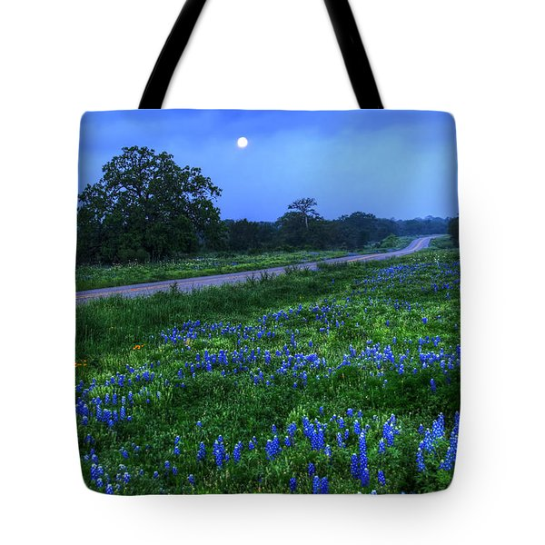 Moonlit Bluebonnets Tote Bag by Tom Weisbrook