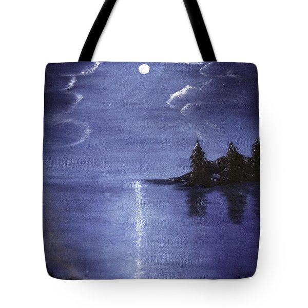 Moonlit Lake Tote Bag by Judy Hall-Folde