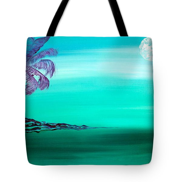 Tote Bag featuring the painting Moonlit Palm by Jacqueline Athmann