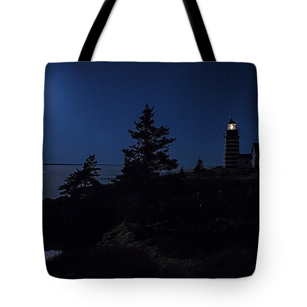 Tote Bag featuring the photograph Moonlit Panorama West Quoddy Head Lighthouse by Marty Saccone