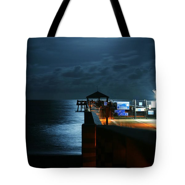 Tote Bag featuring the photograph Moonlit Pier by Laura Fasulo