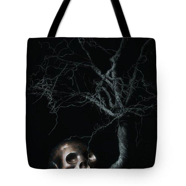 Moonlit Skull And Tree Still Life Tote Bag by Tom Mc Nemar