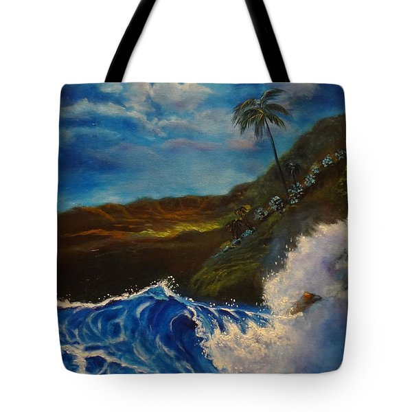 Tote Bag featuring the painting Moonlit Wave 11 by Jenny Lee