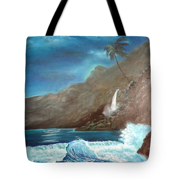 Tote Bag featuring the painting Moonlit Wave by Jenny Lee