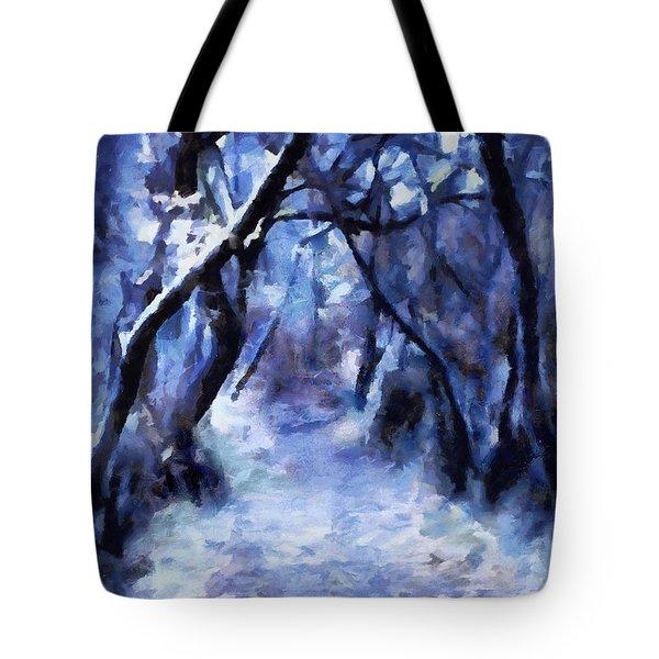 Tote Bag featuring the painting Moonlit Winter Woodpath by Menega Sabidussi