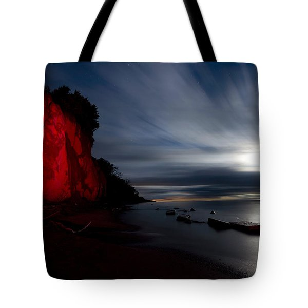 Moonrise At Clearville Beach Tote Bag by Cale Best