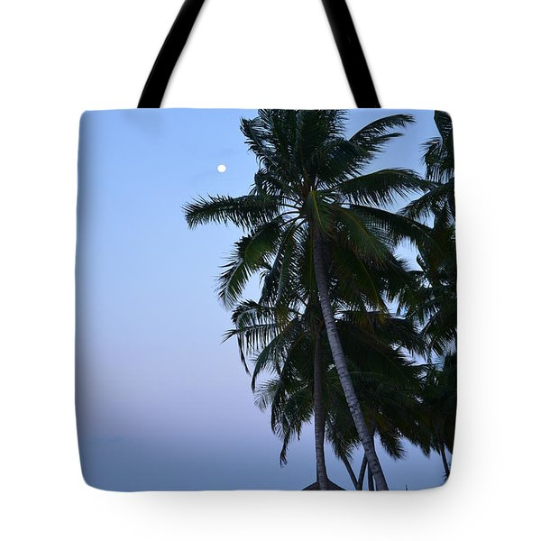 Moonrise In Maldives Tote Bag by Corinne Rhode
