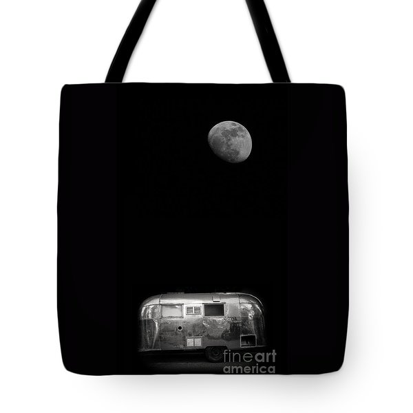 Moonrise Over Airstream Tote Bag by Edward Fielding