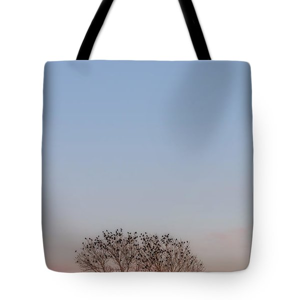 Moonrise Over Blackbirds Tote Bag