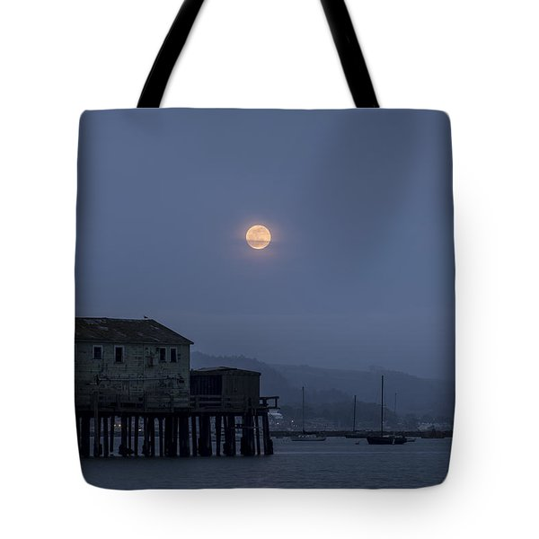 Moonrise Over The Harbor Tote Bag