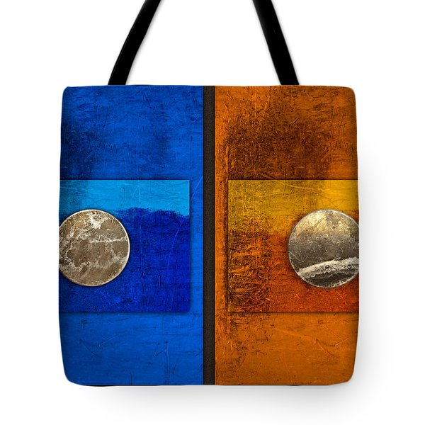 Moons On Blue And Gold Tote Bag by Carol Leigh