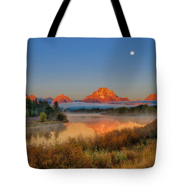 Moonset Over Oxbow Bend Tote Bag