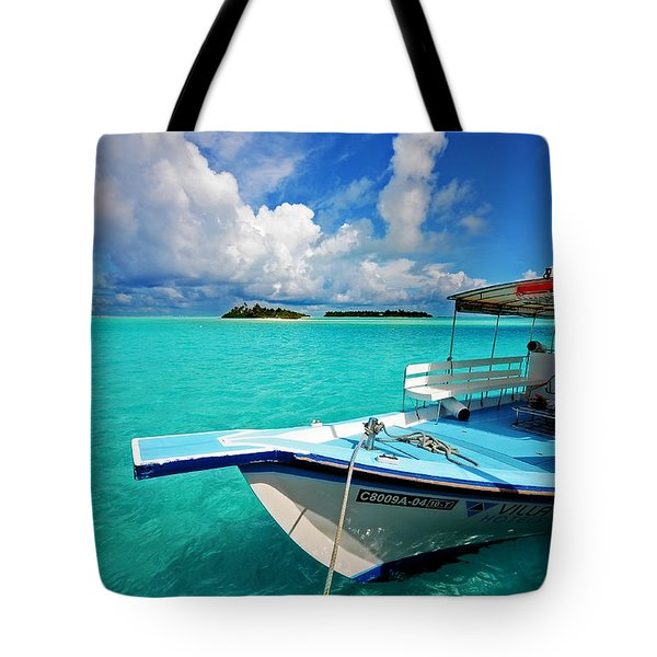 Moored Dhoni At Sun Island. Maldives Tote Bag by Jenny Rainbow