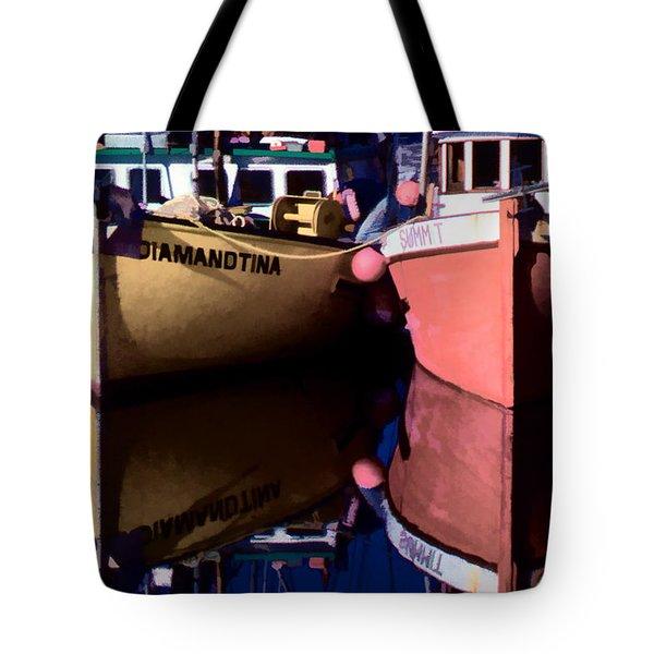 Moored Fishing Boats Tote Bag