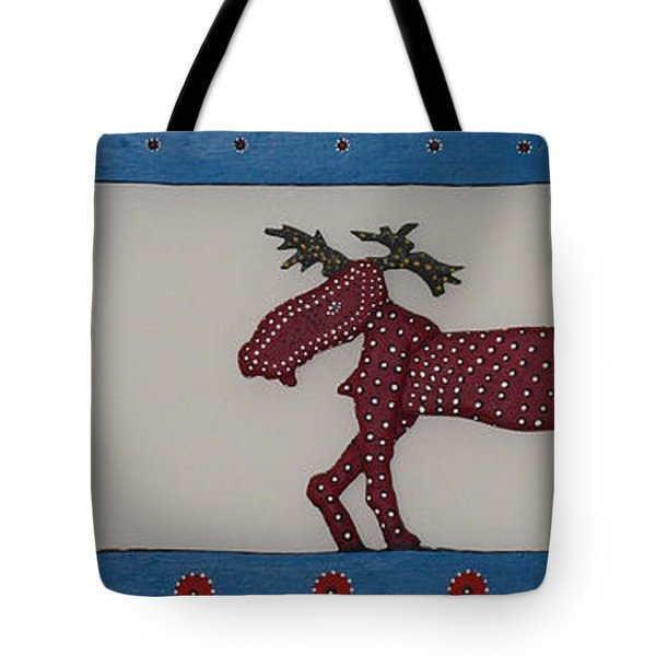 Tote Bag featuring the sculpture Moose Coming Home For Christmas by Robert Margetts