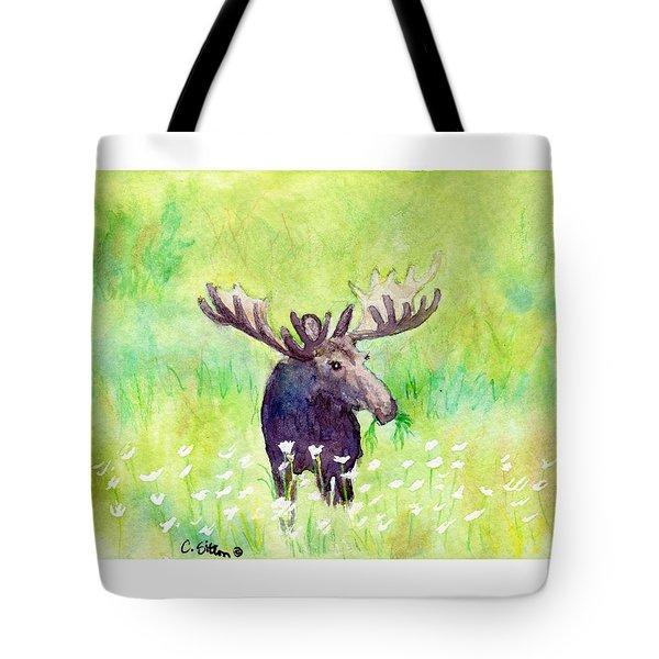 Moose In Flowers Tote Bag