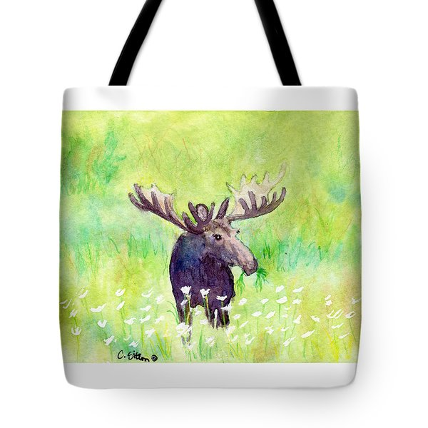 Moose In Flowers Tote Bag