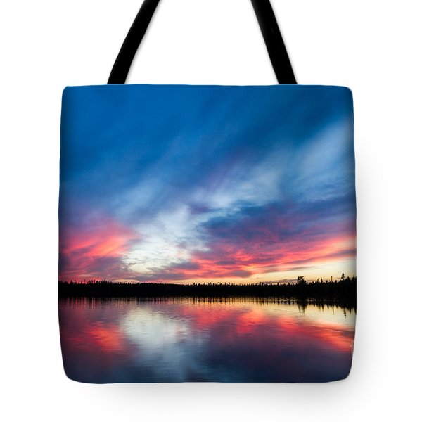 Moose Lake Sunset Tote Bag