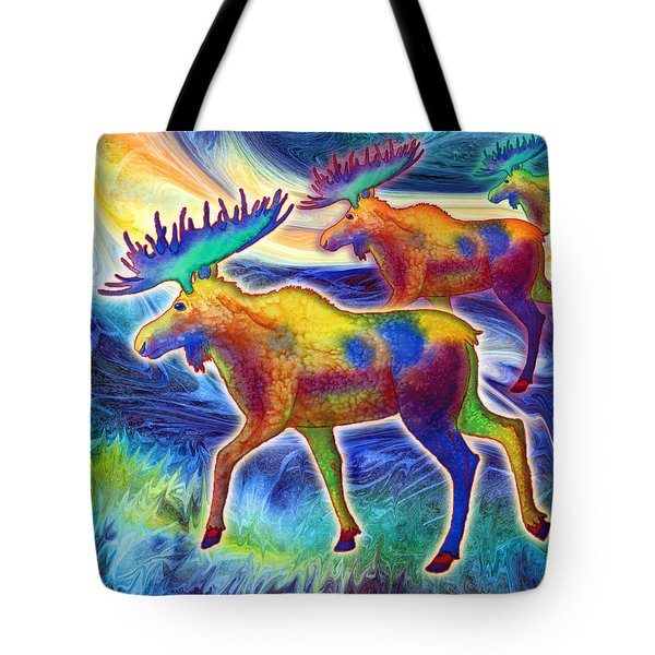 Tote Bag featuring the mixed media Moose Mystique by Teresa Ascone