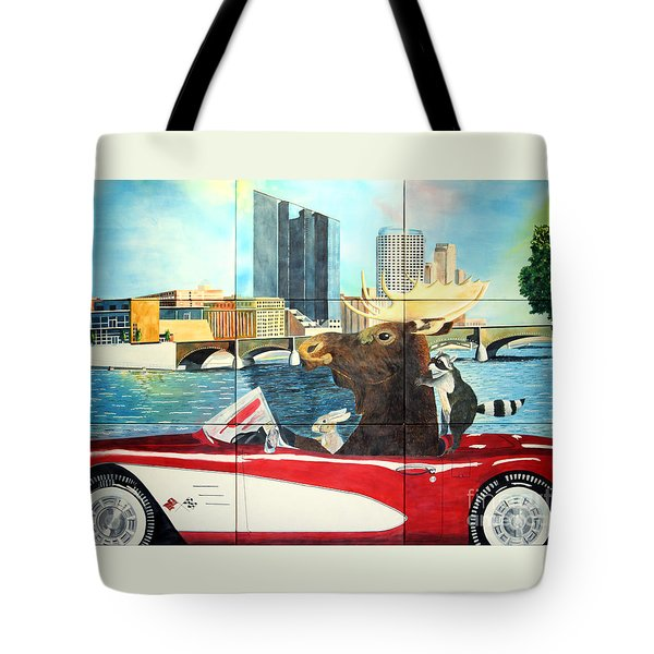 Tote Bag featuring the painting Moose Rapids Il by LeAnne Sowa