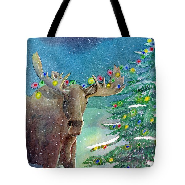 Tote Bag featuring the painting Moosey Christmas by LeAnne Sowa