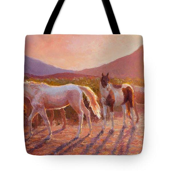 More Than Light Arizona Sunset And Wild Horses Tote Bag