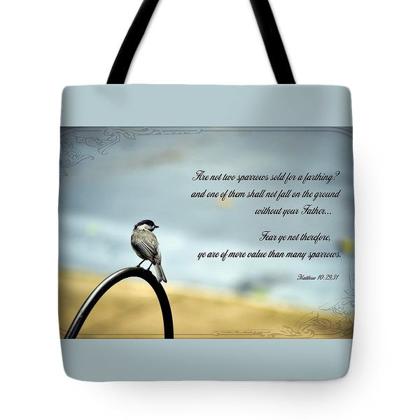 More Value Than Sparrows Tote Bag by Larry Bishop