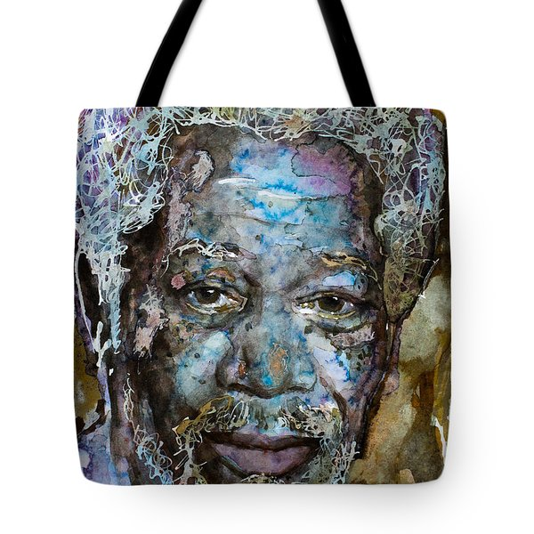 Tote Bag featuring the painting Morgan In Blue by Laur Iduc