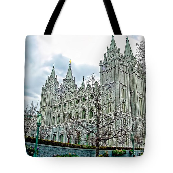 Mormon Temple In Early Spring Tote Bag