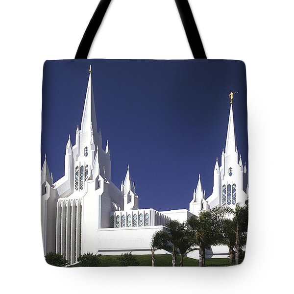 Mormon Temple Tote Bag by Paul W Faust -  Impressions of Light