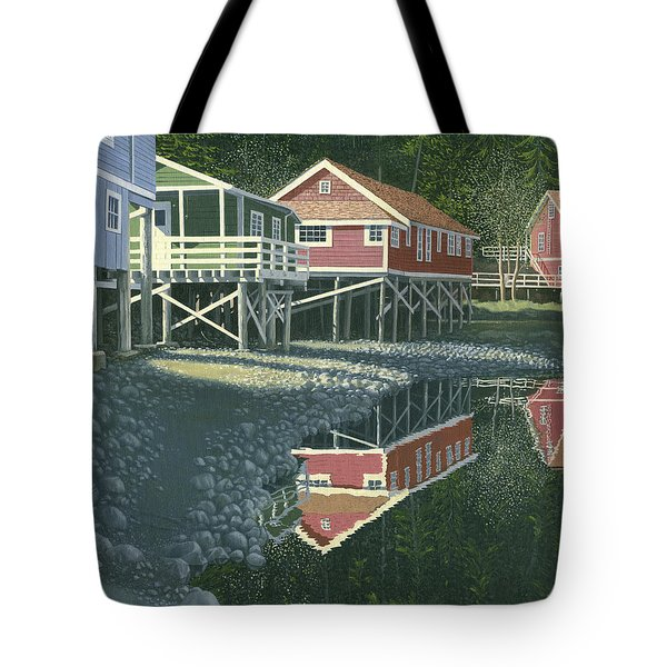 Tote Bag featuring the painting Morning At Telegraph Cove by Gary Giacomelli