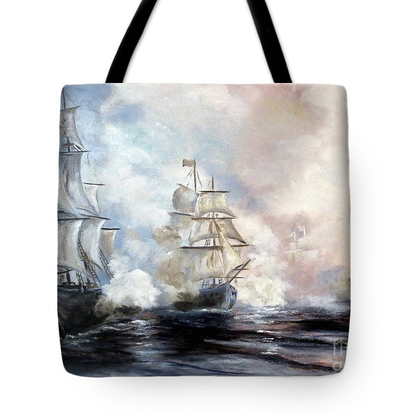 Tote Bag featuring the painting Morning Battle by Lee Piper