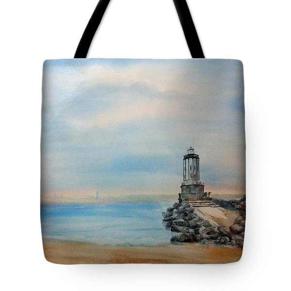 Tote Bag featuring the painting Angel's Gate Lighthouse by Debbie Lewis